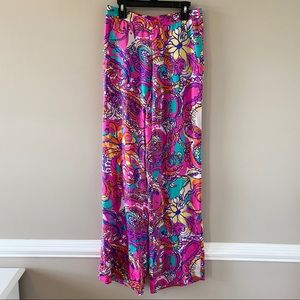 Lilly Pulitzer Floral Wide Leg Pants with Pockets